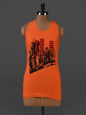 Orange Graphic Printed Cotton Tank Top - Posh 7