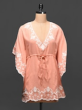 Peach Embroidered Cotton Kaftan - Global Colors