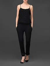 Black Jumpsuit With Lace Detailing - Global Colours