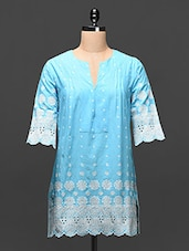 Sky Blue Embroidered Cotton Tunic - Global Colors