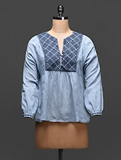 Steel Blue Embroidered Cotton Top - Global Colors - 1069088