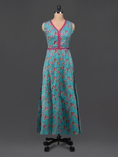 Turquoise Cotton Floral Print Maxi Dress - Bhama Couture