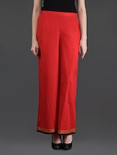 Red Cotton Palazzo Pants - Bhama Couture