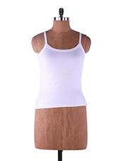 White Plain Solid Camisole Cotton - Fabme