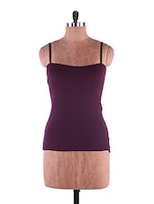 Red Plain Solid Camisole Cotton - Fabme