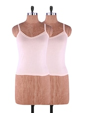 Brown Plain Solid Camisole Cotton Set Of 2 - Fabme