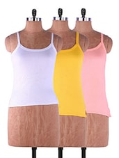 Multi Colored Plain Solid Camisole Cotton Set Of 3 - Fabme