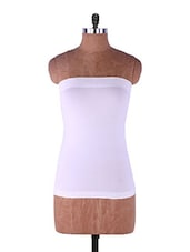 White Plain Solid Strapless Camisole Cotton - Fabme