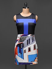 Color Block and Graphic Print Sleeveless Dress