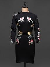Floral Printed Black Bodycon Dress - Buylane