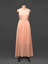 Gathered Peach Sleeveless Maxi Dress - Buylane