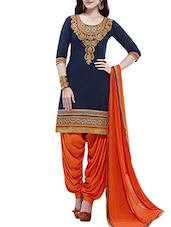 blue chanderi silk dress material -  online shopping for Dress Material