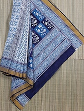 White And Blue Printed Cotton Saree - Subho