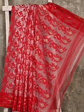 Red And White Cotton Silk Jamdani Saree - Creation