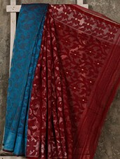 Blue And Maroon Cotton Silk Jamdani Saree - Creation