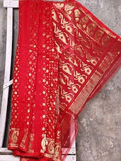 Bright Red Cotton Silk Saree - Creation