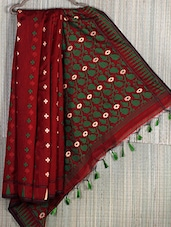 Red Floral Cotton Silk Saree - Creation