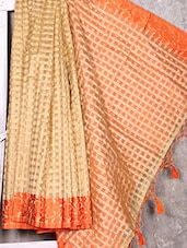 Orange Border Check Pattern Handwoven Saree - Shiva Saree
