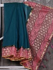 Pink Border Jute & Net Handwoven Saree - Shiva Saree