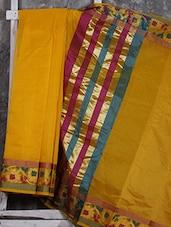 Yellow Floral Border Banarasi Kota Saree - Shiva Saree