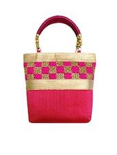 Classy Pink Raw Silk Handbag - Bhamini