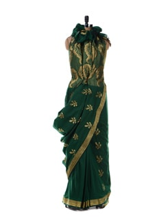 Green Saree With Gold-silver Border - Platinum Sarees
