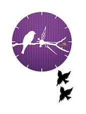 Bird Print Purple Wall Clock With Cutouts - Wood Pecker