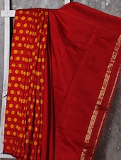 Red Polka Dotted Handwoven Cotton Saree - Attire Zone