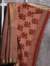 Red And Beige Striped Cotton Saree - Attire Zone