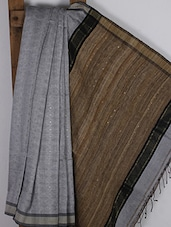 Grey Handwoven Ghicha Cotton Silk Saree - NFTSSLTD