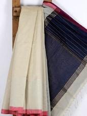 White Handwoven Cotton Silk Saree - NFTSSLTD