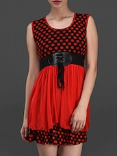 Red Polka Dot Printed Dress - London Off