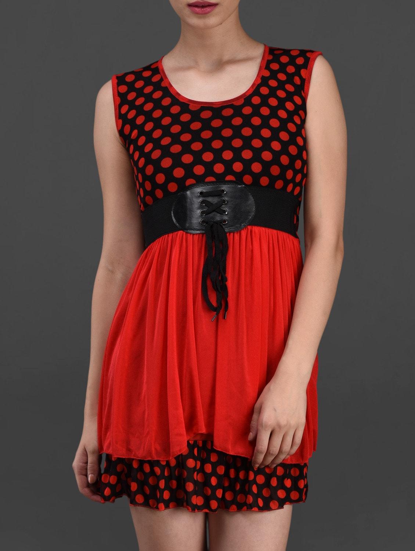 Red Polka Dot Printed Dress - London Off