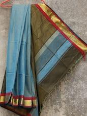 Blue Handwoven Cotton Silk Saree - NFTSSLTD