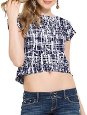 blue polyester crop  top -  online shopping for Tops