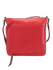 Textured Red Leather Cross Body Bag - ADAMIS