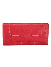 Textured Red Leather Wallet - ADAMIS