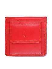 Red Textured Leather Wallet - ADAMIS