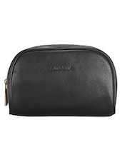 Solid Black Leather Travel Pouch - ADAMIS