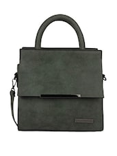Front Flap Pocket Green Hand Bag - Lino Perros