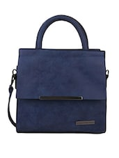 Front Flap Pocket Blue Hand Bag - Lino Perros