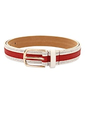 Red Textured Leatherette Womens Belt - Lino Perros