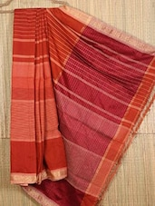 Orange Handwoven Jacquard Cotton Silk Saree - NFTSSLTD