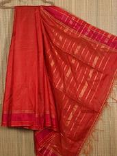 Orange Handwoven Tussar Silk Saree - NFTSSLTD