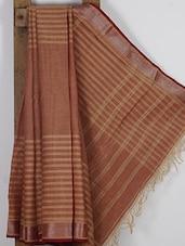 Light Brown Handwoven Tussar Cotton Silk Saree - NFTSSLTD