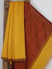 Mustard And Maroon Handwoven Cotton Silk Saree - NFTSSLTD