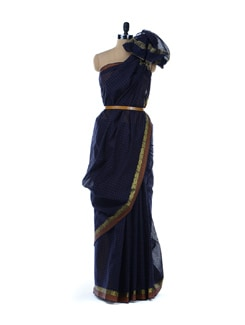 Navy Blue Check Print Saree - Platinum Sarees