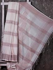 Ivory Hand Woven Striped Cotton Saree - NFTSSLTD