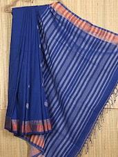 Blue Hand Woven Jamdani Cotton Saree - NFTSSLTD