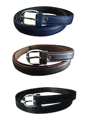 Blue, Black, Beige Leatherette Combos Belt - By - 10717545